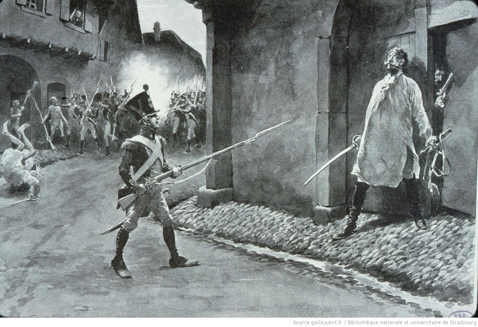 A scene depicting street-fighting in the town of Mittelhausbergen in Alsace.